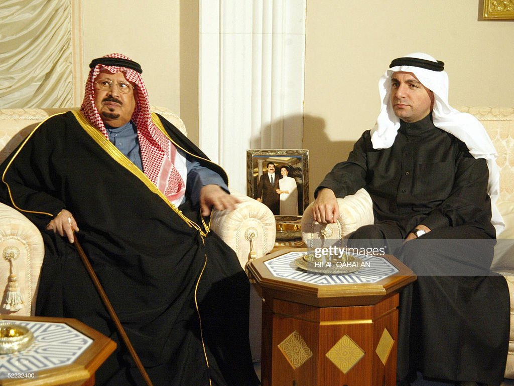 Prince Bandar bin Abdul Aziz (L), brother of Saudi King Fahd, sits with Bahaeddin Hariri, the eldest son of assassinated Lebanese former premier <a gi-track='captionPersonalityLinkClicked' href=/galleries/search?phrase=Rafiq+Hariri&family=editorial&specificpeople=549773 ng-click='$event.stopPropagation()'>Rafiq Hariri</a>, as he offers his condolences 23 February 2005 in Riyadh. Family of slain tycoon <a gi-track='captionPersonalityLinkClicked' href=/galleries/search?phrase=Rafiq+Hariri&family=editorial&specificpeople=549773 ng-click='$event.stopPropagation()'>Rafiq Hariri</a>, who made his fortune in Saudi Arabia, flew into the Saudi capital where thousands of people flocked to their mansion to offer condolences.
