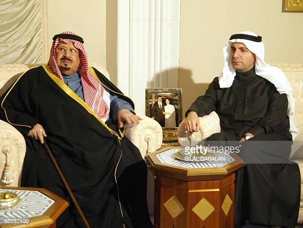 Prince Bandar bin Abdul Aziz brother of Saudi King Fahd sits with Bahaeddin Hariri the eldest son of assassinated Lebanese former premier Rafiq...