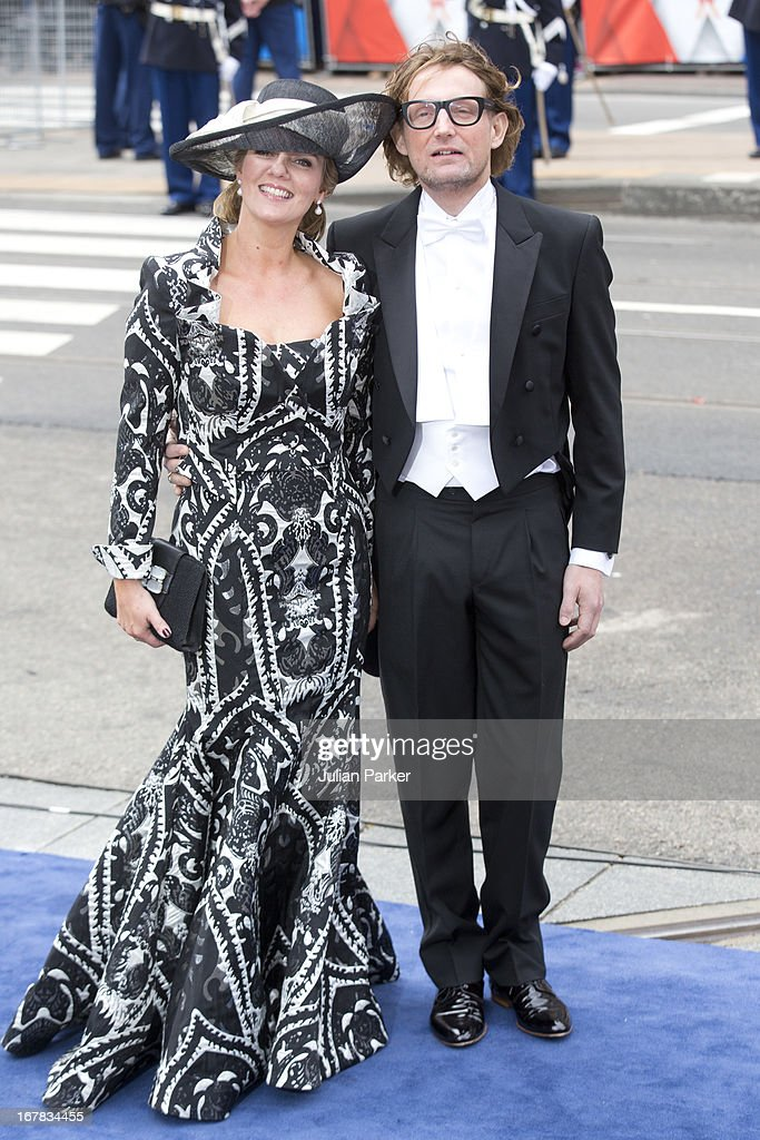 Prince Bernhard and Princess Annette of the Netherlands arrive at the Nieuwe Kerk in Amsterdam for the inauguration ceremony of King Willem Alexander...