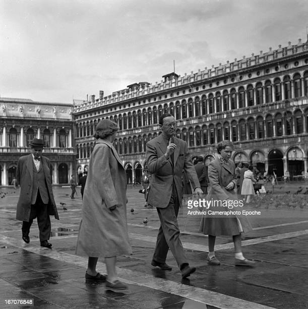 Prince Bernhard of the Netherland with his daughters Princess Irene and Princess Beatrix of the Netherlands visit Venice Venice Italy