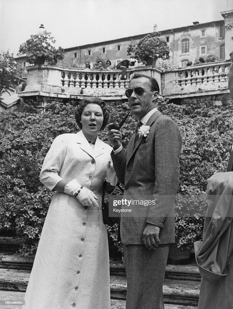 Prince Bernhard of the Netherlands and his daughter Princess Beatrix leaving a flower show in Rome 26th April 1957