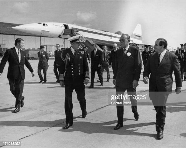 Prince Bernhard of the Netherlands at RAF Fairford Gloucestershire after inspecting the prototype supersonic airliner Concorde 002 with chief test...