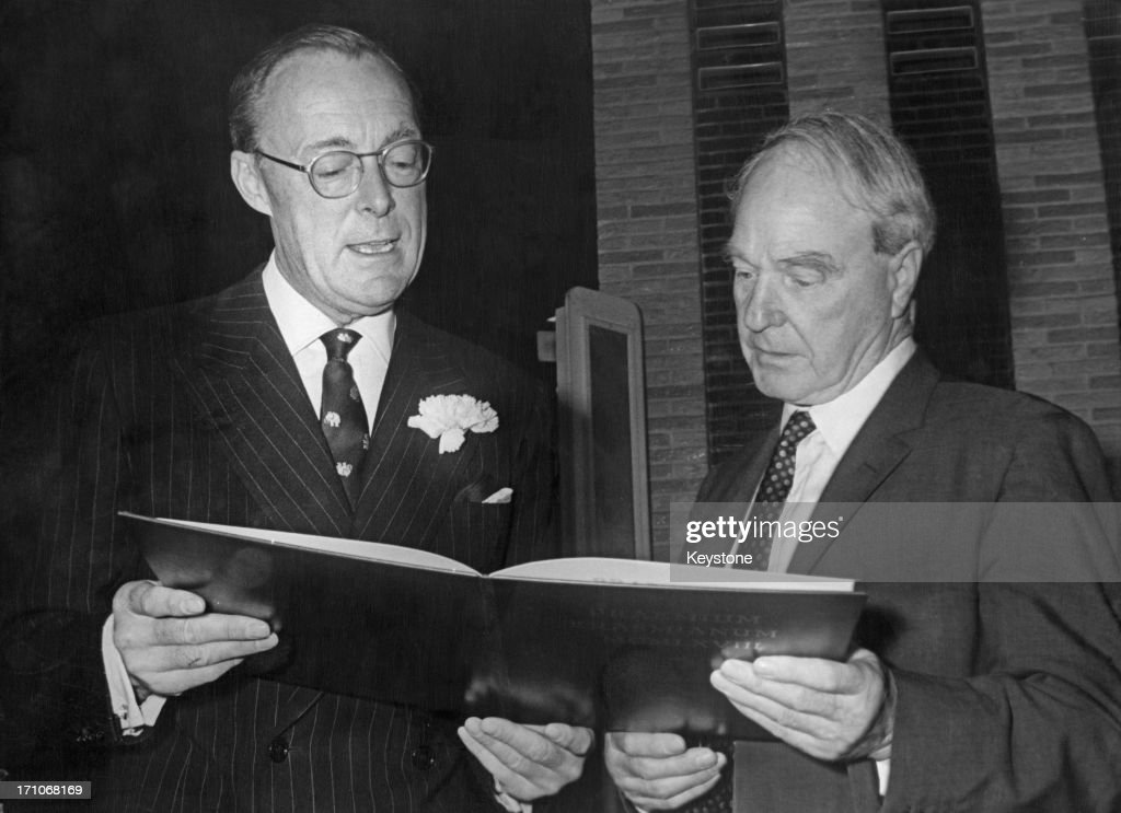 Prince Bernhard of the Netherlands presenting English sculptor Henry Moore with the Erasmus Prize for 1968 Arnhem Netherlands 3rd May 1968