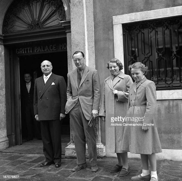 Prince Bernhard of the Netherlands with his daughters Princess Irene and Princess Beatrix of the Netherlands visit Venice on 1953 Venice Italy The...