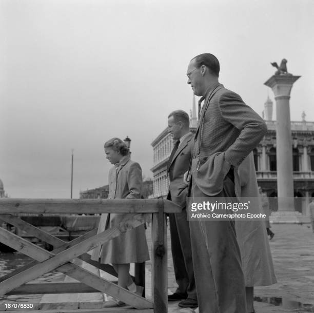 Prince Bernhard of the Netherlands with his daughters Princess Irene and Princess Beatrix of the Netherland visit Venice Venice Italy