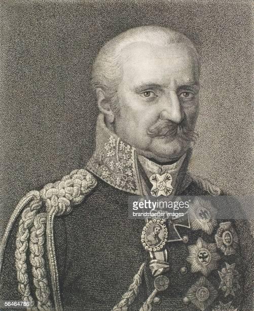 Prince Bluecher of Wahlstadt prussian Fieldmarshall Etching 1836 [Fuerst Bluecher von Wahlstadt Preussischer Feldmarschall Radierung 1836]