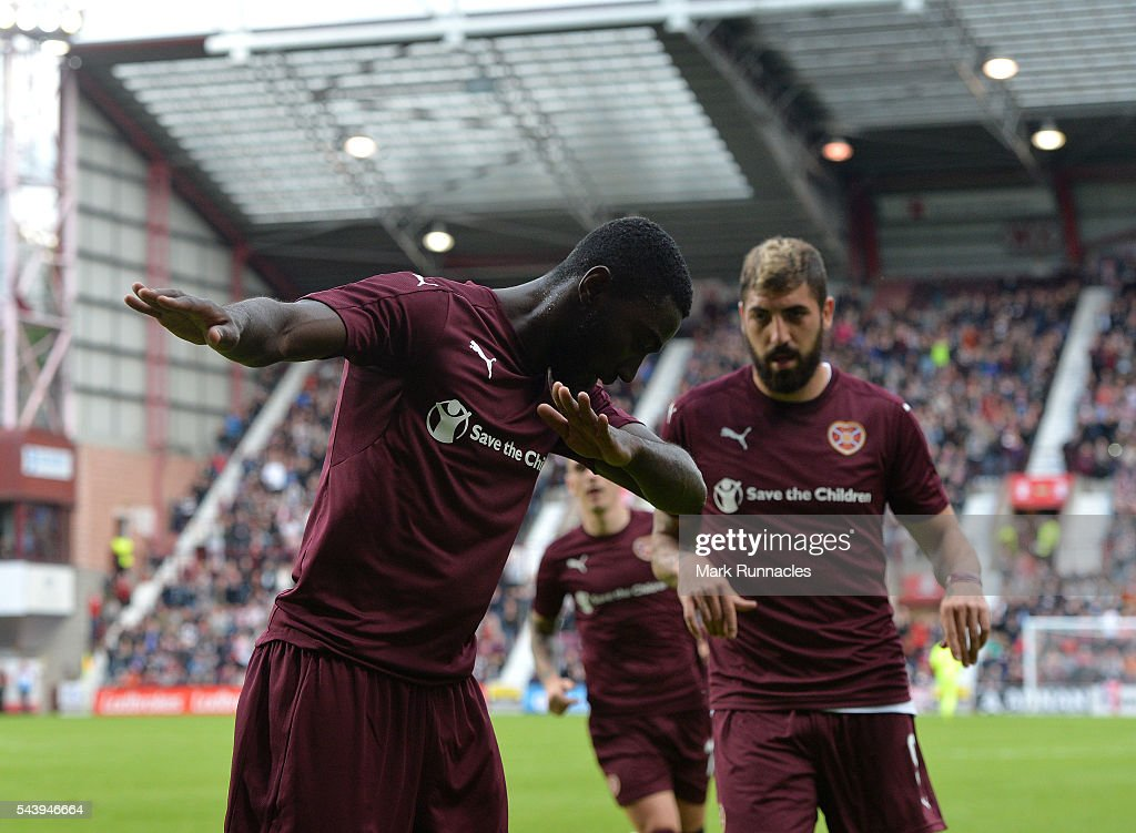 Prince Buaben of Hearts celebrates scoring from the penalty spot during the UEFA Europa League First Qualifying Round match between Heart of Midlothian FC and FC Infonet Tallinn at Tyncastle Stadium on June 30, 2016 in Edinburgh, Scotland.