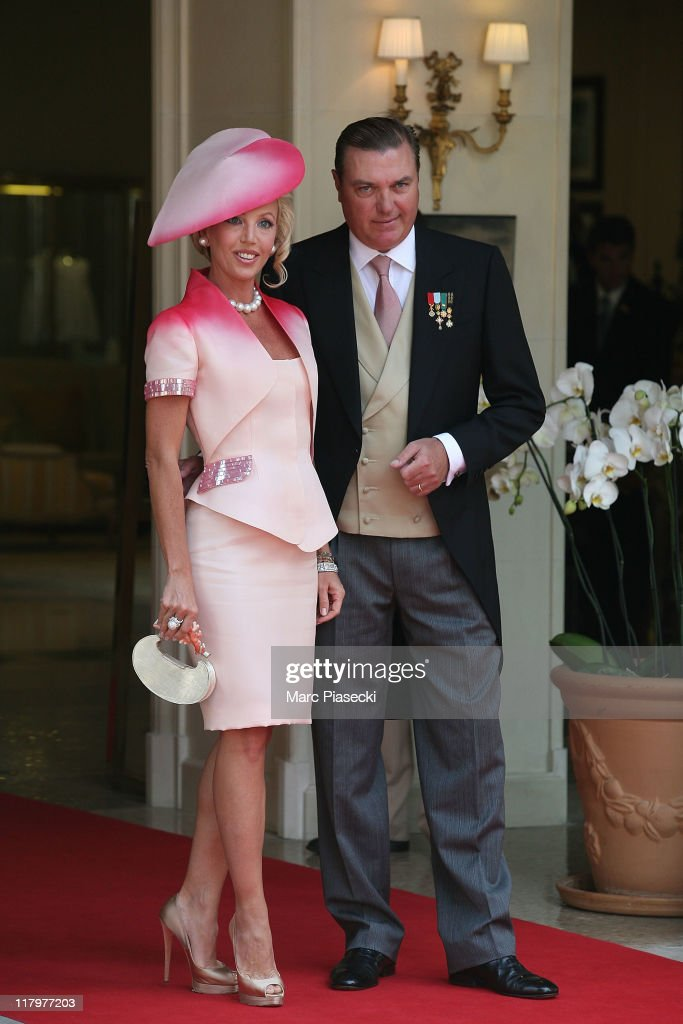 H. Prince Carl of Bourbon-two sicilies, Duke of Castro and his wife Princess Camilla, Duchess of Castro are sighted arriving at the 'Hermitage' hotel to attend the Royal Wedding of Prince Albert II of Monaco to Charlene Wittstock in the main courtyard at on July 2, 2011 in Monaco, Monaco.
