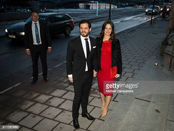 Prince Carl Philip and Princess Sofia arrive at formal gathering at the Royal Swedish Academy of Fine Arts on February 19 2016 in Stockholm Sweden