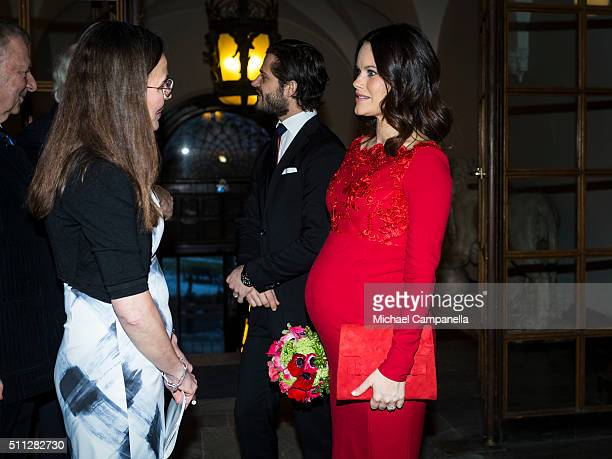 Prince Carl Philip and Princess Sofia attend a formal gathering at the Royal Swedish Academy of Fine Arts on February 19 2016 in Stockholm Sweden
