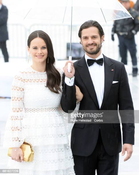 Prince Carl Philip and Princess Sofia of Sweden are seen arriving at the Opera House on the occasion of the celebration of King Harald and Queen...