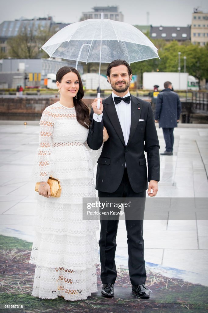 Prince Carl Philip and Princess Sofia of Sweden arrive at the Opera House on the ocassion of the celebration of King Harald and Queen Sonja of Norway 80th birthdays on May 10, 2017 in Oslo, Norway.