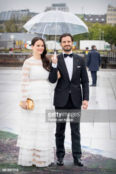 Prince Carl Philip and Princess Sofia of Sweden arrive at the Opera House on the ocassion of the celebration of King Harald and Queen Sonja of Norway...