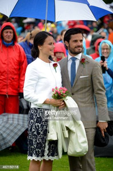 Prince Carl Philip and Sofia Hellqvist attend the Victoria Day celebrations on the Crown Princess's 37th Birthday at Solliden on July 14 2014 in...