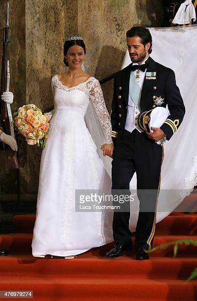 Prince Carl Philip of Sweden and his wife Princess Sofia of Sweden depart after their royal wedding at The Royal Palace on June 13 2015 in Stockholm...