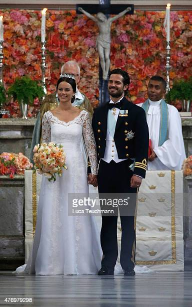 Prince Carl Philip of Sweden and his wife Princess Sofia of Sweden prepare to depart after their royal wedding at The Royal Palace on June 13 2015 in...