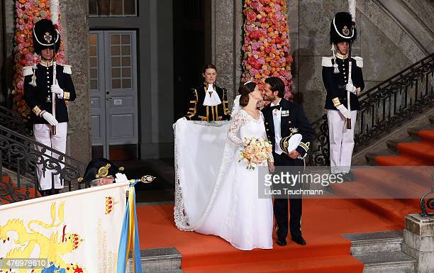 Prince Carl Philip of Sweden and his wife Princess Sofia of Sweden kiss after their royal wedding at The Royal Palace on June 13 2015 in Stockholm...