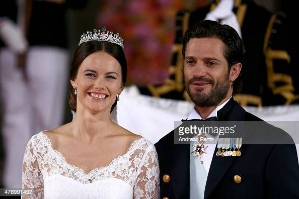 Prince Carl Philip of Sweden and his wife Princess Sofia of Sweden pose after their marriage ceremony on June 13 2015 in Stockholm Sweden