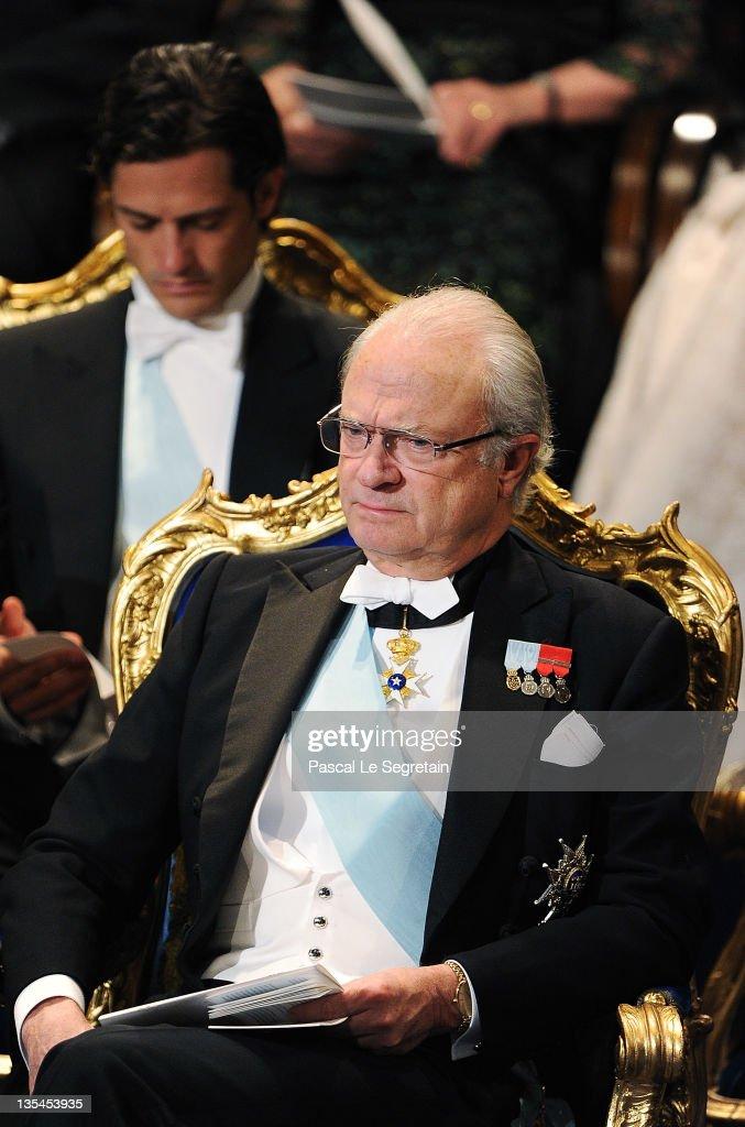 Prince Carl Philip of Sweden (L) and King Carl XVI Gustaf of Sweden (R) attend the Nobel Prize Award Ceremony at Stockholm Concert Hall on December 10, 2011 in Stockholm, Sweden.