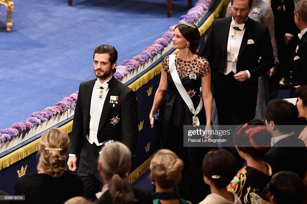 Prince Carl Philip of Sweden and Princess Sofia of Sweden arrive at the Nobel Prize Awards Ceremony at Concert Hall on December 10 2015 in Stockholm...