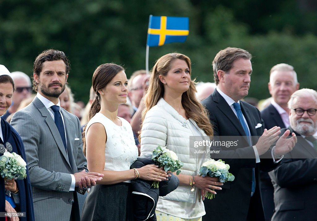 Prince Carl Philip of Sweden, and Princess Sofia of Sweden, Princess Madeleine, and husband Christopher O'Neill, attend a Concert, in Borgholm, to celebrate Crown Princess Victoria of Sweden's 38th Birthday on July 14th, 2015 in Borgholm, Sweden.