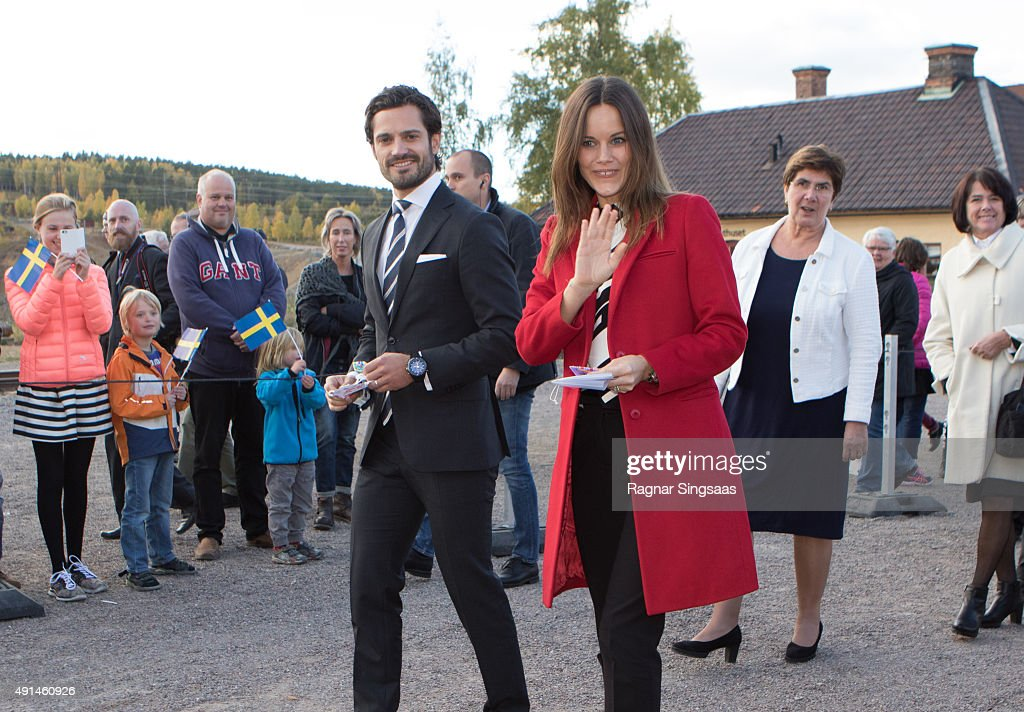 Prince Carl Philip of Sweden and Princess Sofia of Sweden visit the Falun Mine world heritage site during the first day of their trip to Dalarna on October 5, 2015 in Falun, Sweden.