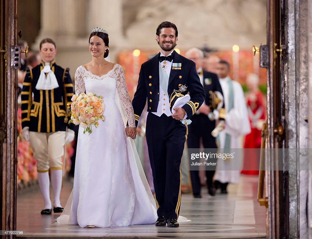 Prince Carl Philip of Sweden, and Princess Sofia of Sweden,leave their wedding ceremony at the Royal Chapel at the Royal Palace on June 13, 2015 in Stockholm, Sweden.