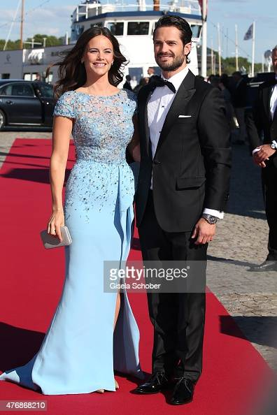Prince Carl Philip of Sweden and Sofia Hellqvist arrive for the private PreWedding Dinner of Swedish Prince Carl Philip and Sofia Hellqvist on June...