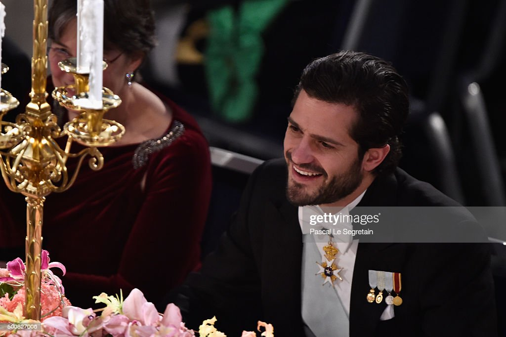 Prince Carl Philip of Sweden arrive at the Nobel Prize Banquet 2015 at City Hall on December 10, 2015 in Stockholm, Sweden.