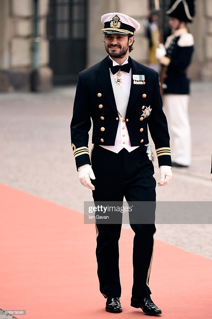 Prince Carl Philip of Sweden arrives before his royal wedding to fiancee Sofia Hellqvist at The Royal Palace on June 13, 2015 in Stockholm, Sweden.