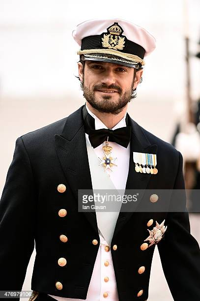 Prince Carl Philip of Sweden arrives before his royal wedding to fiancee Sofia Hellqvist at The Royal Palace on June 13 2015 in Stockholm Sweden
