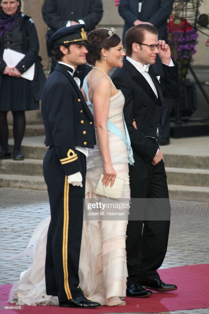 Prince Carl Philip of Sweden, Crown Princess Victoria de Suede and Daniel Westling attend the Gala Performance in celebration of Queen Margrethe's 70th Birthday on April 15, 2010 in Copenhagen, Denmark.