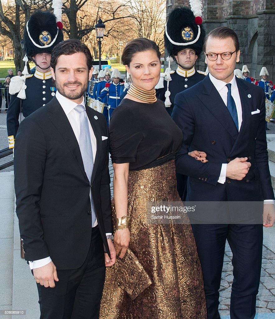 Prince Carl Philip of Sweden, Crown Princess Victoria of Sweden and Prince Daniel of Sweden arrive at the Nordic Museum to attend a concert of the Royal Swedish Opera and Stockholm Concert Hall to celebrate the 70th birthday of King Carl Gustaf of Sweden on April 29, 2016 in Stockholm, Sweden.