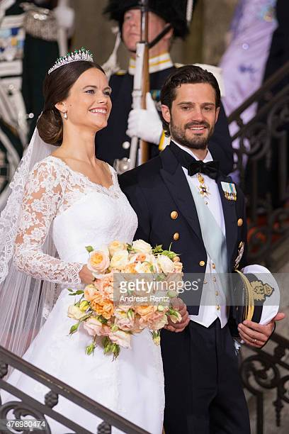 Prince Carl Philip of Sweden is seen with his new wife Princess Sofia of Sweden after their marriage ceremony on June 13 2015 in Stockholm Sweden