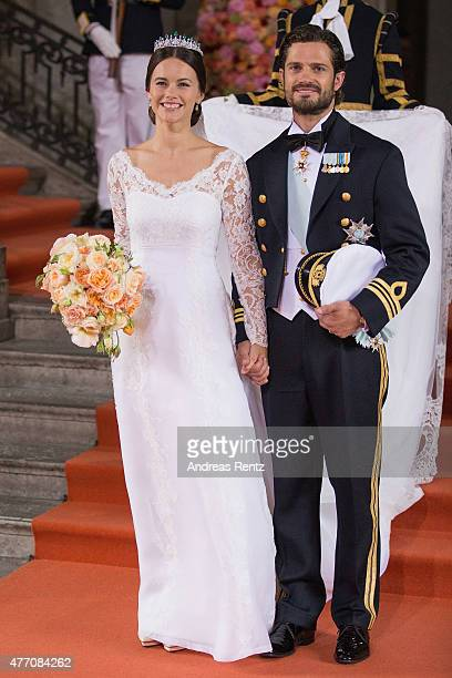 Prince Carl Philip of Sweden is seen with his new wife Princess Sofia Duchess of Varmland after their marriage ceremony on June 13 2015 in Stockholm...