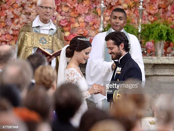 Prince Carl Philip of Sweden is seen with his new wife Princess Sofia of Sweden at their marriage ceremony at The Royal Palace on June 13 2015 in...