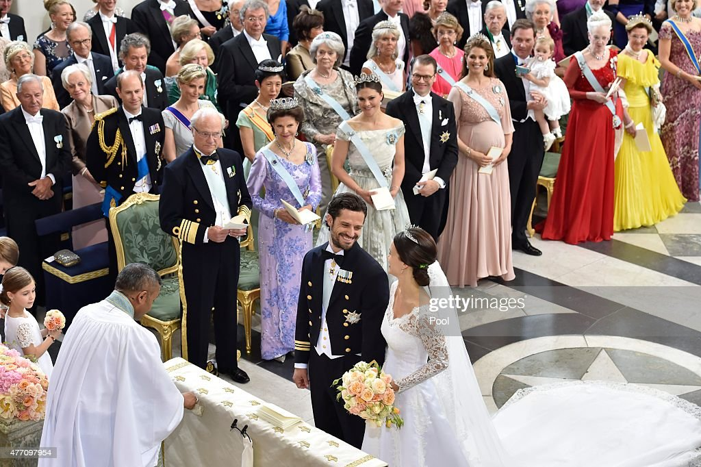 Prince Carl Philip of Sweden is seen with his new wife Princess Sofia of Sweden at their marriage ceremony at The Royal Palace on June 13, 2015 in Stockholm, Sweden.