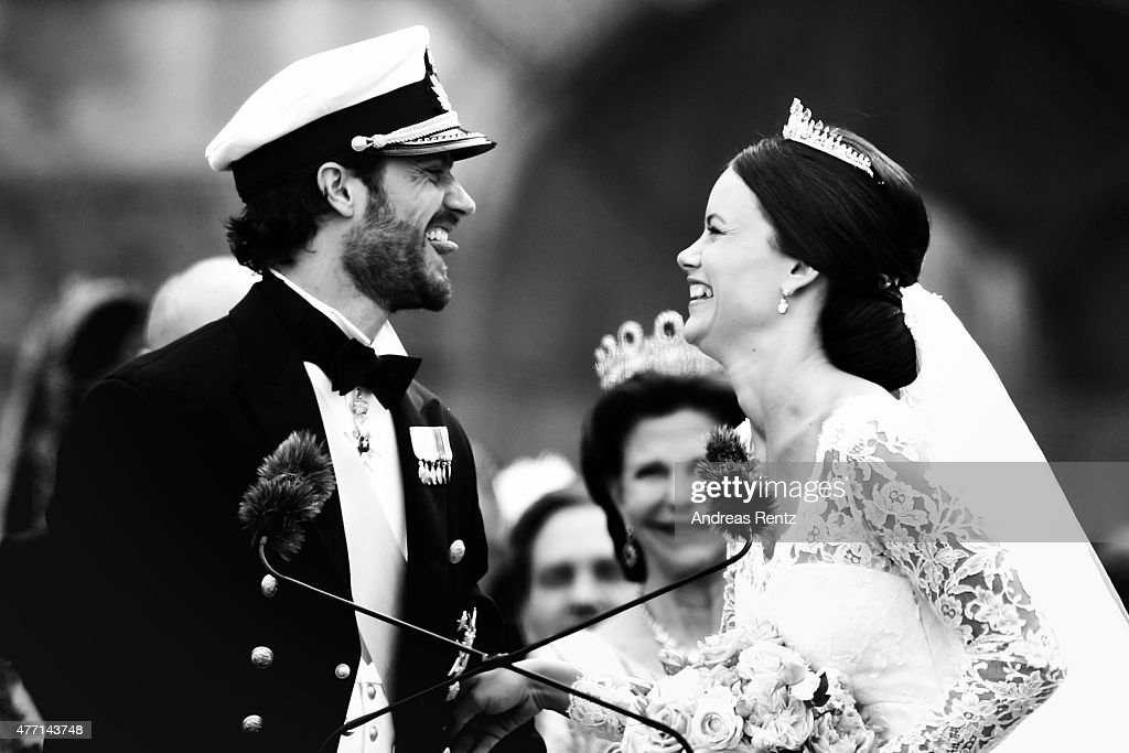 Prince Carl Philip of Sweden is seen with his new wife Princess Sofia of Sweden after their marriage ceremony at The Royal Palace on June 13, 2015 in Stockholm, Sweden.