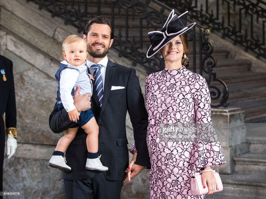 Prince Carl Philip of Sweden, Prince Alexander of Sweden and Princess Sofia of Sweden arrive for a thanksgiving service on the occasion of The Crown Princess Victoria of Sweden's 40th birthday celebrations at the Royal Palace on July 14, 2017 in Stockholm, Sweden. The celebrations in Stockholm end with the Crown Princess Family being escorted from the Royal Palace to the Royal Stables in a horse drawn carriage.