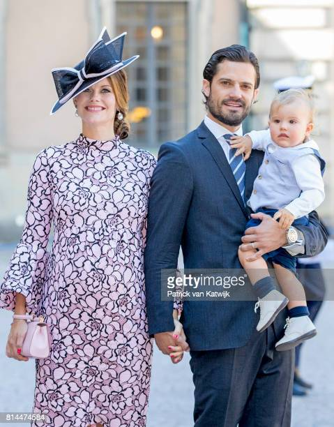 Prince Carl Philip of Sweden Princess Sofia of Sweden and Prince Alexander arrive for a thanksgiving service on the occasion of The Crown Princess...