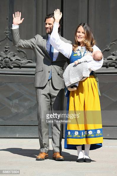 Prince Carl Philip of Sweden Princess Sofia of Sweden and son Prince Alexander of Sweden attend the National Day Celebrations on June 6 2016 in...