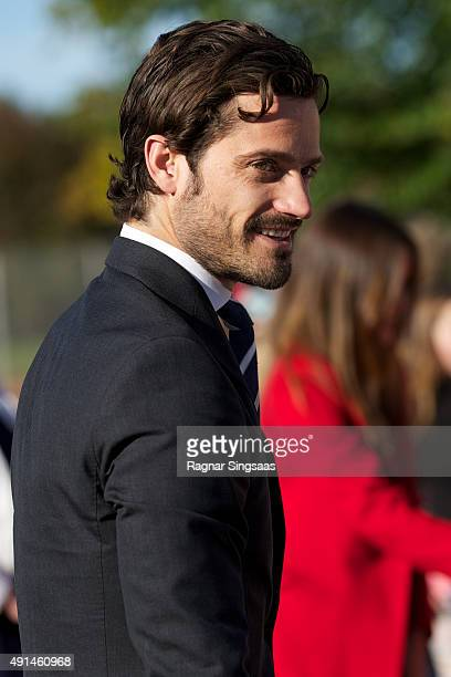 Prince Carl Philip of Sweden visits the company Dalform AB during the first day of a two day trip to Dalarna on October 5 2015 in Sater Sweden