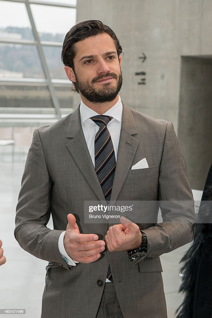 Prince Carl Philip of Sweden,visits the Lyon's Confluences Museum, science centre and anthropology museum. on January 28, 2015 in Lyon, France.