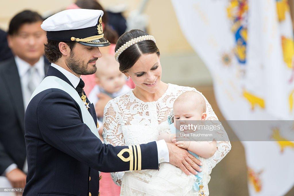 Prince Carl Philip, Princess Sofia and Prince Alexander attend the christening of Prince Alexander of Sweden at Drottningholm Palace Chapel on September 9, 2016 in Stockholm, Sweden.