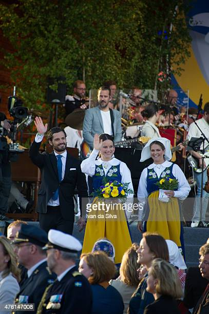 Prince Carl Philip Princess Sofia Hellqvist Princess Madeleine attends National Day Celebrations at Djurgarden on June 6 2015 in Stockholm Sweden