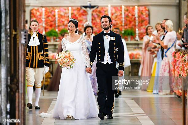 Prince Carl Philipand Princess Sofia Of Swedendepart the Royal Palace Chapel on June13 2015 in Stockholm Sweden