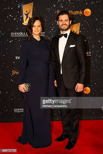 Prince Carl Phillip and Princess Sofia of Sweden attend the Swedish Sports Gala at the Ericsson Globe on January 25 2016 in Stockholm Sweden