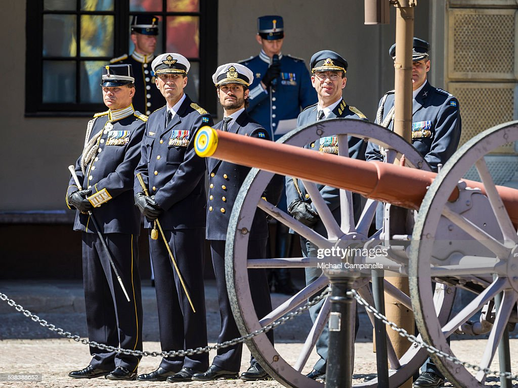 Prince Carl Phillip of Sweden (center) participates in a ceremony celebrating Sweden's national day at the Royal Palace on June 6, 2015 in Stockholm, Sweden.
