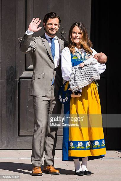 Prince Carl Phillip Princess Sofia and Prince Alexander of Sweden participate in a ceremony celebrating Sweden's national day at the Royal Palace on...