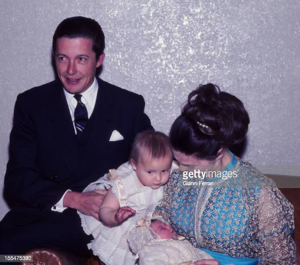 Prince Carlos of Borbon Dos Sicilias and his wife Princess Anne of Orleans with their daughters Cristina and Maria Madrid Castilla La Mancha Spain